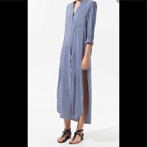 ZARA gray/ blue maxi shirt dress S